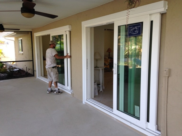 Vinyl Hurricane Impact Pocketing doors Before / Afters